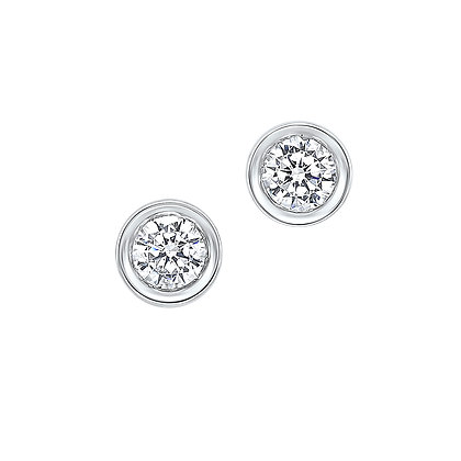 14K White Gold 1/4 ctw Diamond Bezel Earrings