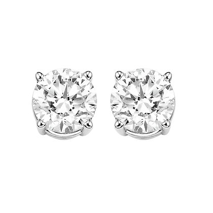 14K White Gold Diamond Stud Earrings - 2 ctw