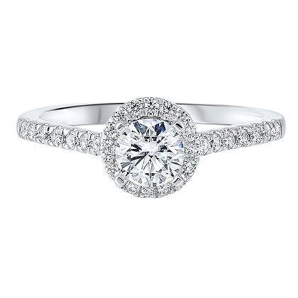 14K White Gold 3/4 ctw Complete Eng. Ring - 1/2 ct center