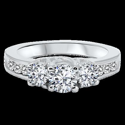 14K White Gold 1 ctw 9-Stone Diamond Ring