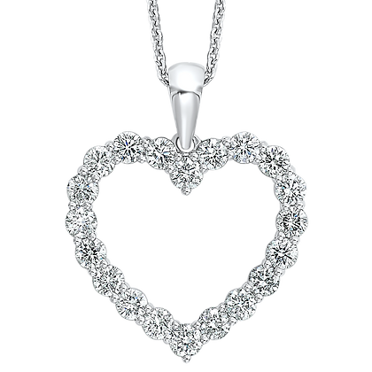 14K White Gold Diamond Heart Pendant - 1/2 ctw.