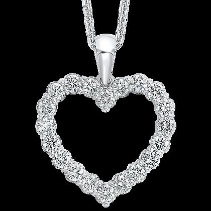 14K White Gold Diamond Heart Pendant - 3/4 ctw.