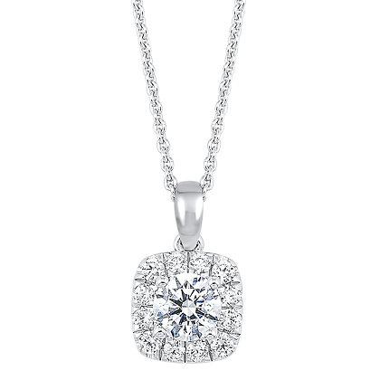 14K White Gold 3/4 ctw Diamond Halo Pendant