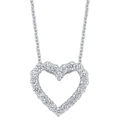 14K White Gold Diamond Heart Pendant - 1/2 ctw.