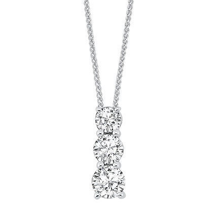 14K White Gold 1 ctw 3-Stone Diamond Pendant