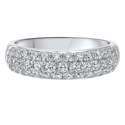 14K White Gold 1 ctw Diamond Wedding Band
