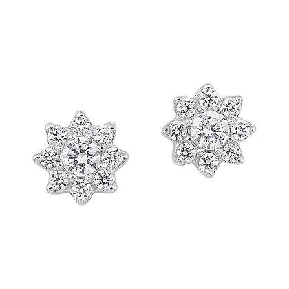14K White Gold 1/2 ctw Diamond Star Earrings