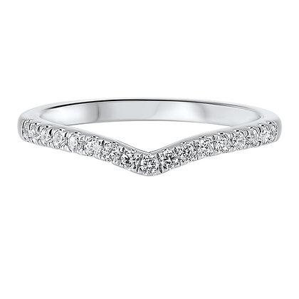 14K White Gold 1/5 ctw Diamond Wedding Band