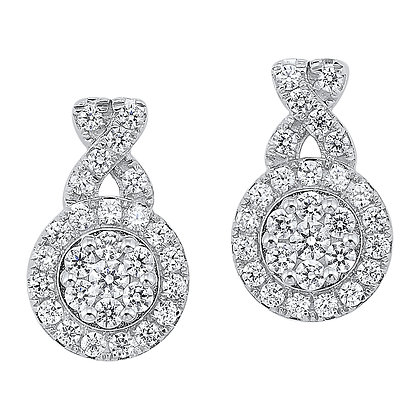 14K White Gold 3/4 ctw Diamond Earrings