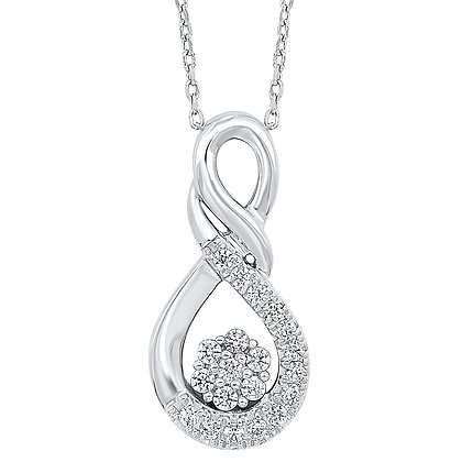 Sterling Silver 1/4 ctw Diamond Pendant