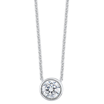 14K White Gold 1/2 ctw. Diamond Bezel Pendant