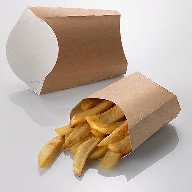 Fries Box Leone, Paper+PE, Kraft, 100 pcs, 10.5x10.5x5cm