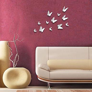 Butterflies in White 3D WALPLUS, Sticker, 12pcs
