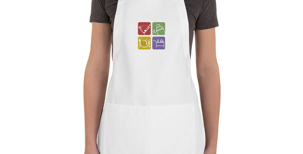 Apron with Personalized Embroided Logo, 2 Front Pockets, 2 Colors, Custom Logo