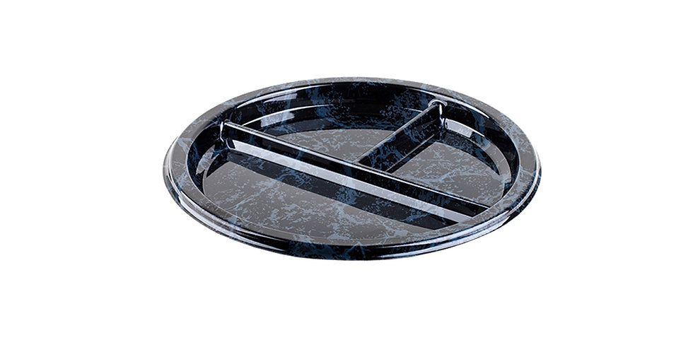 Disposable Platter Sabert, 3 Compartments, Round, PET, Marble Black, Ø26x2cm