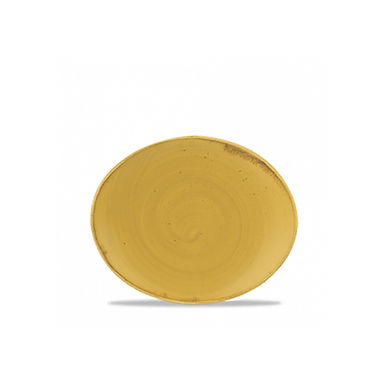 Oval Flat Plate Churchill Stonecast, Oval, Mustard Seed Yellow