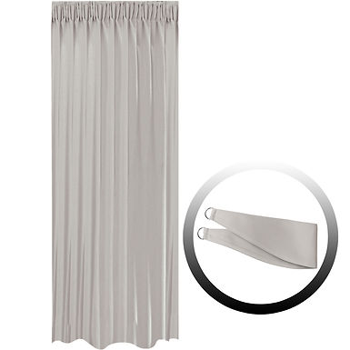 Blackout Curtain with 1 Tie, Light Gray, 144x290cm