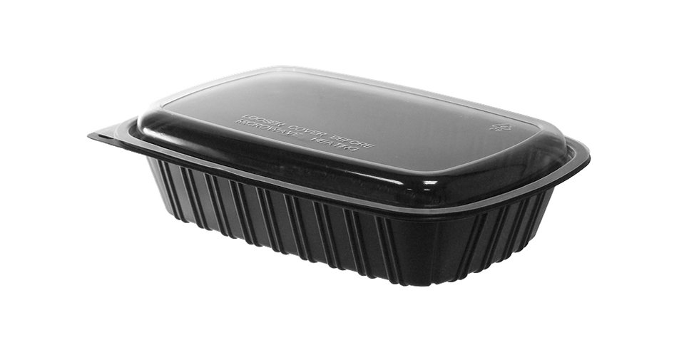 Disposable Meal Container, with Lid, Rectangle, Black, PP, 22.5x15.5x3.5cm