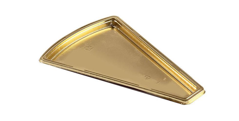 Cake Takeaway Platter Erremme, Triangle, PET, Gold Color, 15x10cm