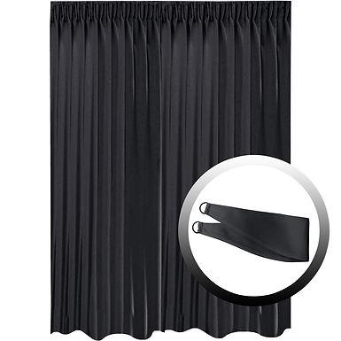 Blackout Curtain with 1 Tie, Black, 295x290cm