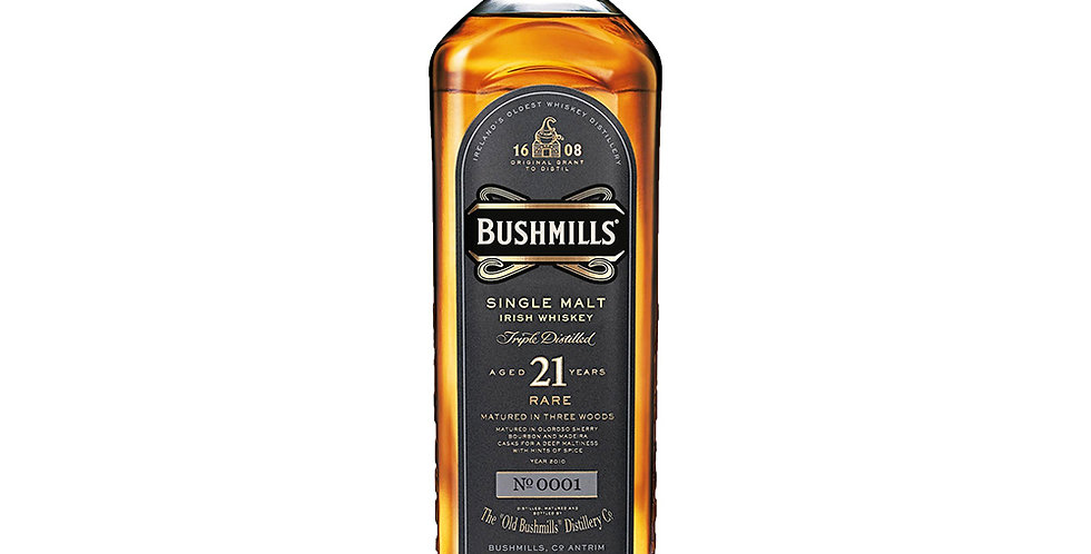 Bushmills Aged 21 Years Irish Whiskey, 700ml