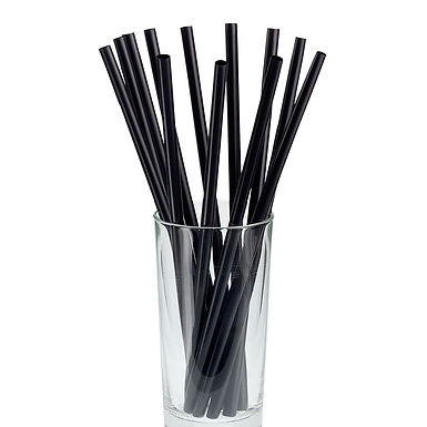 Straws Leone, Biodegradable PLA, Black, 500 pcs, Ø7mm, 21cm