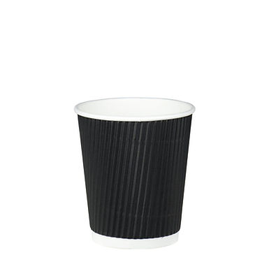 Disposable Cup, White & Rippled Black, 8oz, 236ml