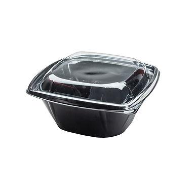 Disposable Takeaway Box Thalassinos, Black, with Lid, PET, 18.5x14.5x7cm, 1000ml