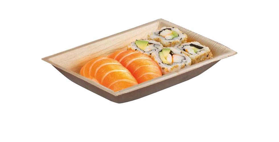 Disposable Plate First Pack, Rectangle, Biodegradable, Palm Wood, 17.7x12.7x3cm