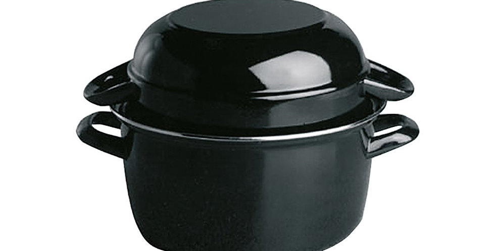 Mussel Pot with Lid APS, Black, Enamel, 0.5kg Mussel, 13.5x9cm