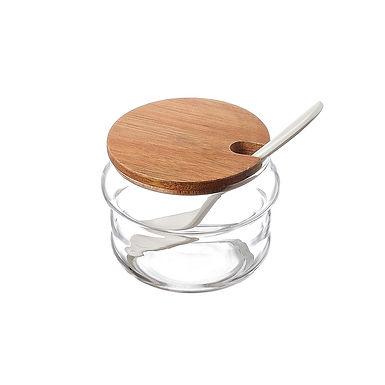 Glass Jar with Lid, with Spoon Leone, Acacia/Glass/Melamine, 1 pc, Ø8x6cm
