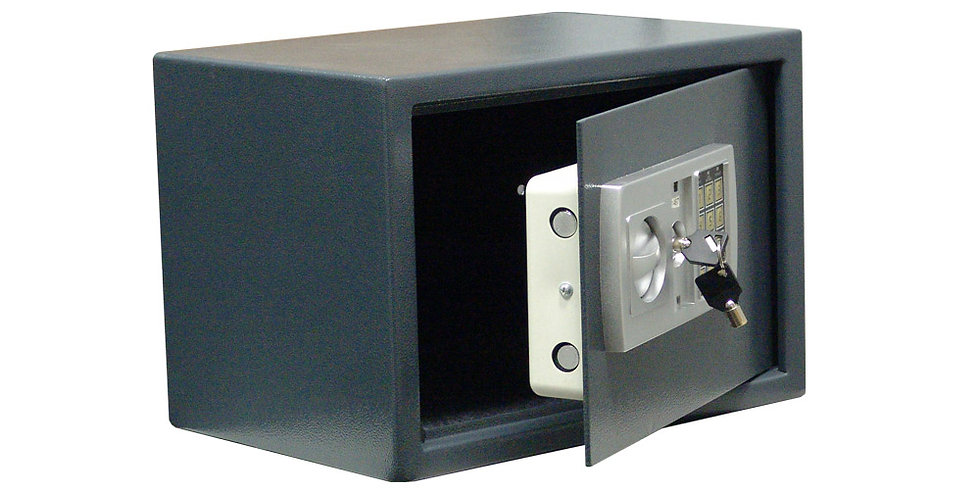Safe with Electronic and Key Lock, Gray, 35x25x25cm