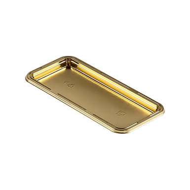 Cake Takeaway Platter Erremme, Rectangle, PET, Gold Color, 13x7cm