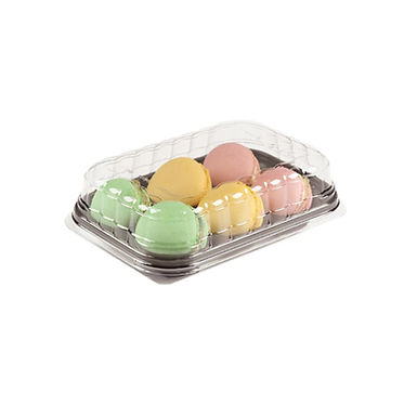 Macaron Takeaway Box Erremme, with Lid, 6 Macarons, Gold Color, 18x12.4cm