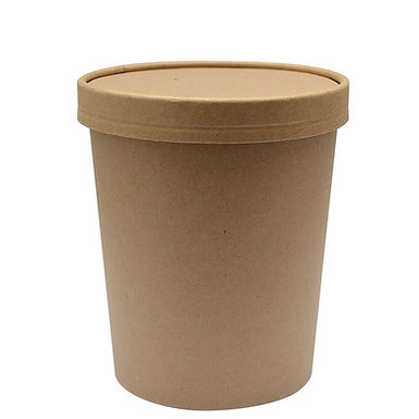 Disposable Cup First Pack, with Lid,Kraft Paper, Biodegradable, Ø9.7x11.8, 630ml
