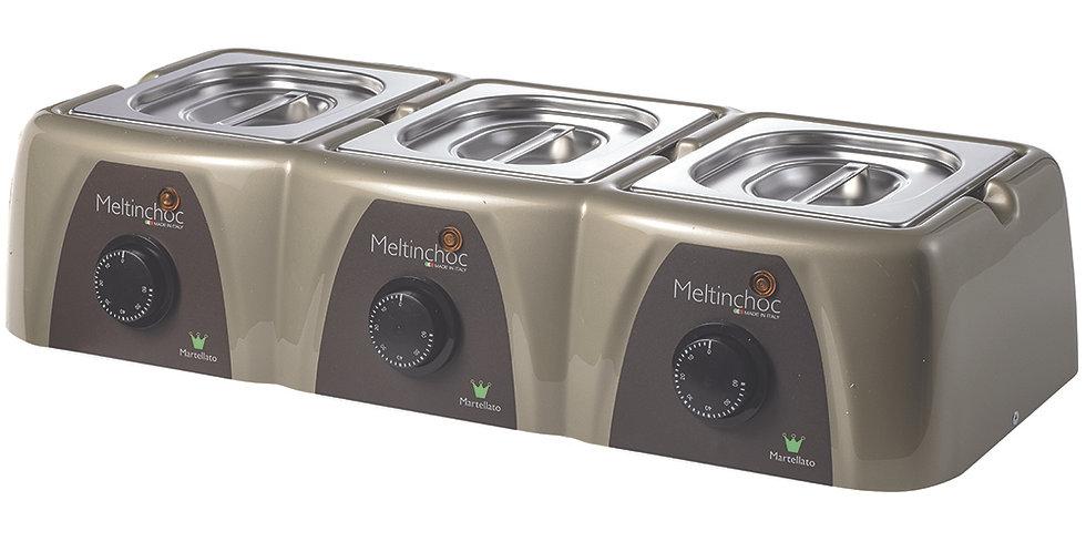 Analog Chocolate Melter Martellato Meltinchoc, 3 Compartm., 61x26x13.5cm, 1.5Lx3
