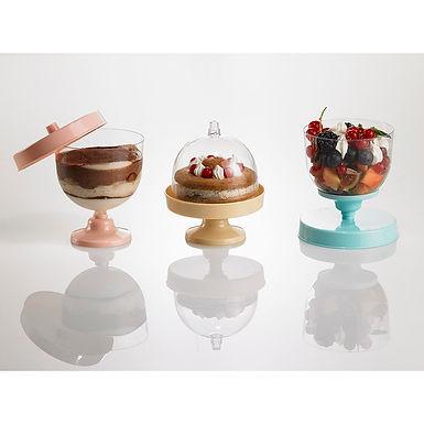 Cake Holder Set of 3 Leone Finger Food Kristal Party, PS, 9 sets, Ø9.2x10.5cm