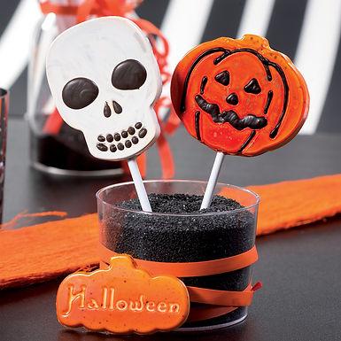 Pumpkin & Skull Lollipop Mold Martellato Lollipop, Thermoformed Plastic, 4+4 pcs
