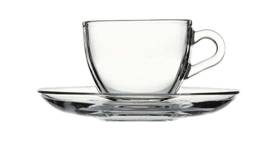 Espresso Cup Pasabahce Basic, with Saucer, 90ml