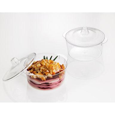 Casserole & Lid Leone Finger Food Kristal Party, PS, Clear, 12 pcs, Ø7.4x5.4cm