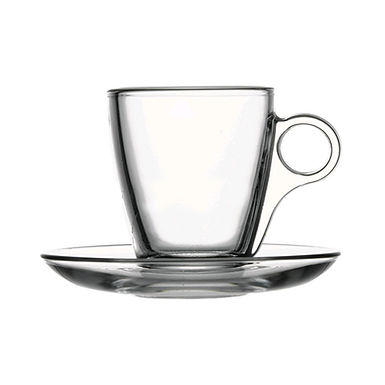Marocchino Cup Pasabahce Cherie, Tempered, with Saucer, 128ml