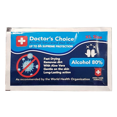 80% Alcohol Saturated Wet Wipe Doctor's Choice, 10x20cm