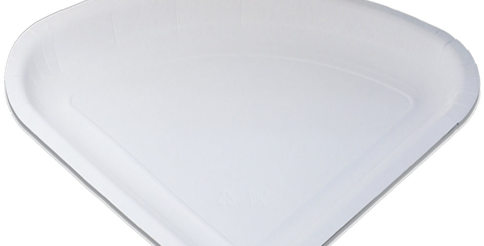 Disposable Paper Plate for 1/4 Pizza-Crepe, Triangle, White, 34x26cm