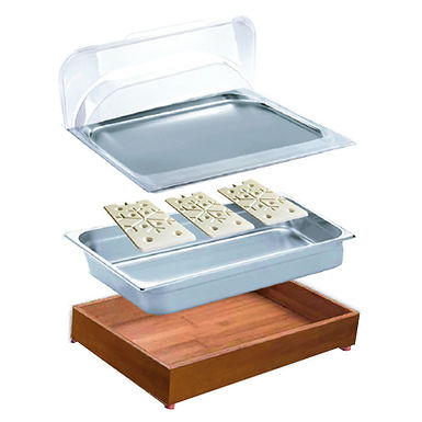 Buffet Tray Set, with Cooling Blocks, with Roll Top Lid, Rectangle, GN1/1
