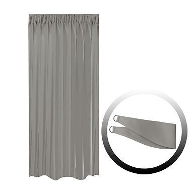 Blackout Curtain with 1 Tie, Dark Gray, 144x250cm