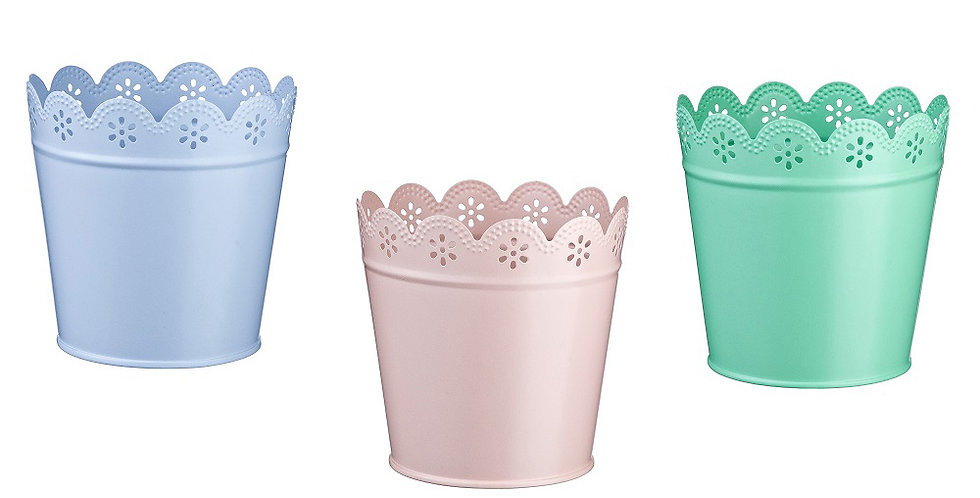 Set of 3 Colored Tin Buckets Leone Leonette, 1 set, 8.5x8.7cm