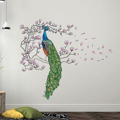 Peacock and Magnolia Tree WALPLUS, Sticker, 146x124cm