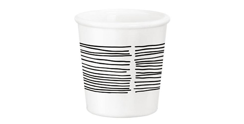 Caffeino Cup Bormioli Rocco Chiaroscuro Linee Caffeino White, Opal Glass, 95ml