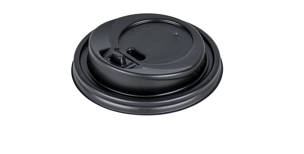 Disposable Paper Cup Lid, for 8oz Cups, with Hinged Tab, Black, Ø84mm