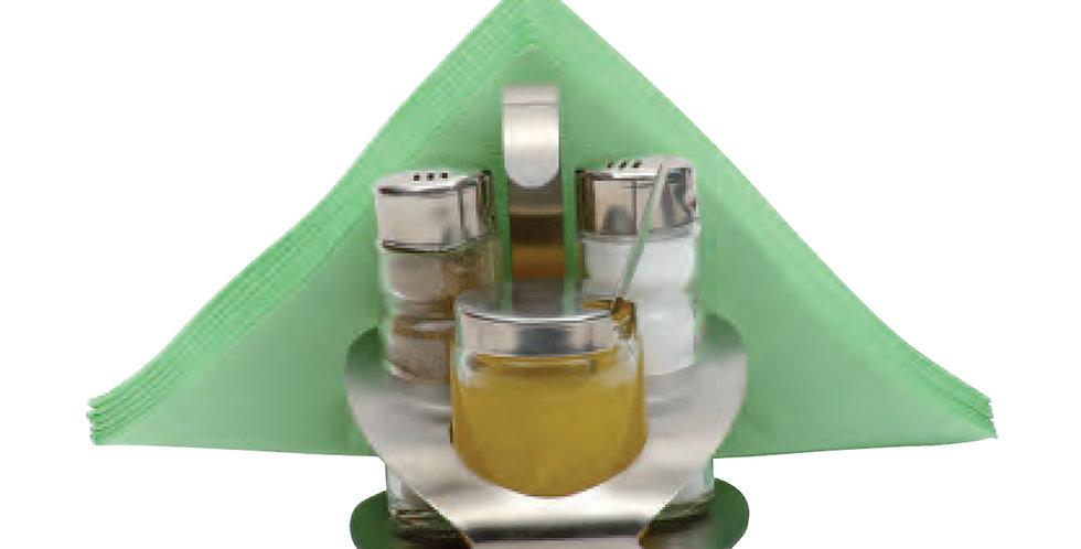 Salt&Pepper Shaker, Sauce Bowl, Napkin Holder with Inox Base